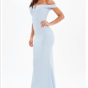 Blue Bardot Scuba Fishtail Maxi Dress